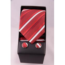 coffret cravate rayé bordeau blanc