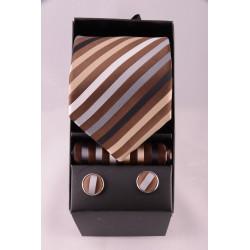 coffret cravate rayé marron beige gris