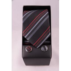 coffret cravate rayé noir gris rouge