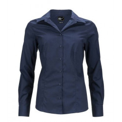 Chemise femme cintrée stretch bleu marine