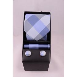 coffret cravate carreaux gris bleu