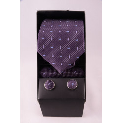 coffret cravate point mauve