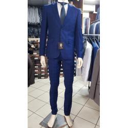 Costume à carreaux bleu