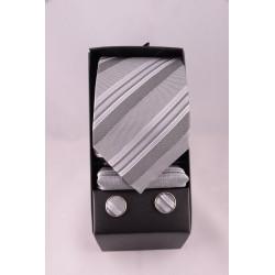 coffret cravate rayé gris