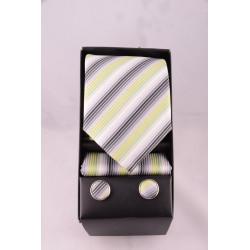 coffret cravate rayé vert gris
