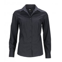 Chemise femme cintrée stretch noir